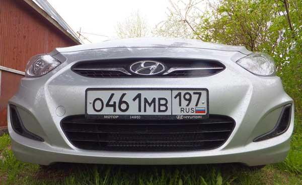 Передний бампер на автомобиле Хендай Солярис